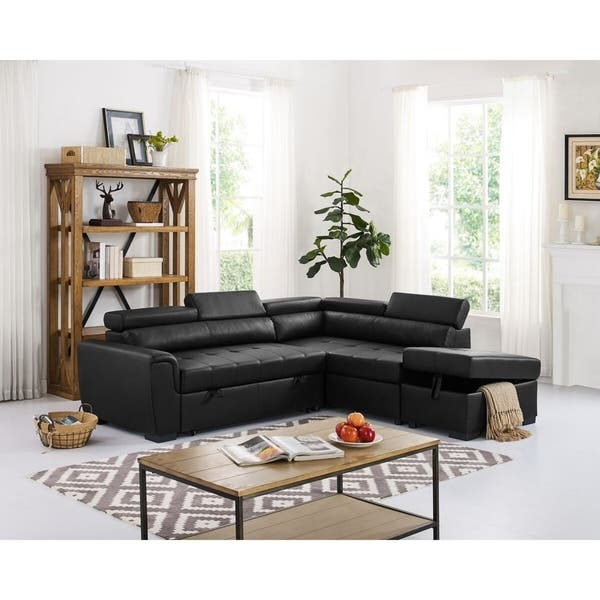 Wondrous Menomonie Right Hand Facing Sleeper Sectional With Ottoman Black Caraccident5 Cool Chair Designs And Ideas Caraccident5Info