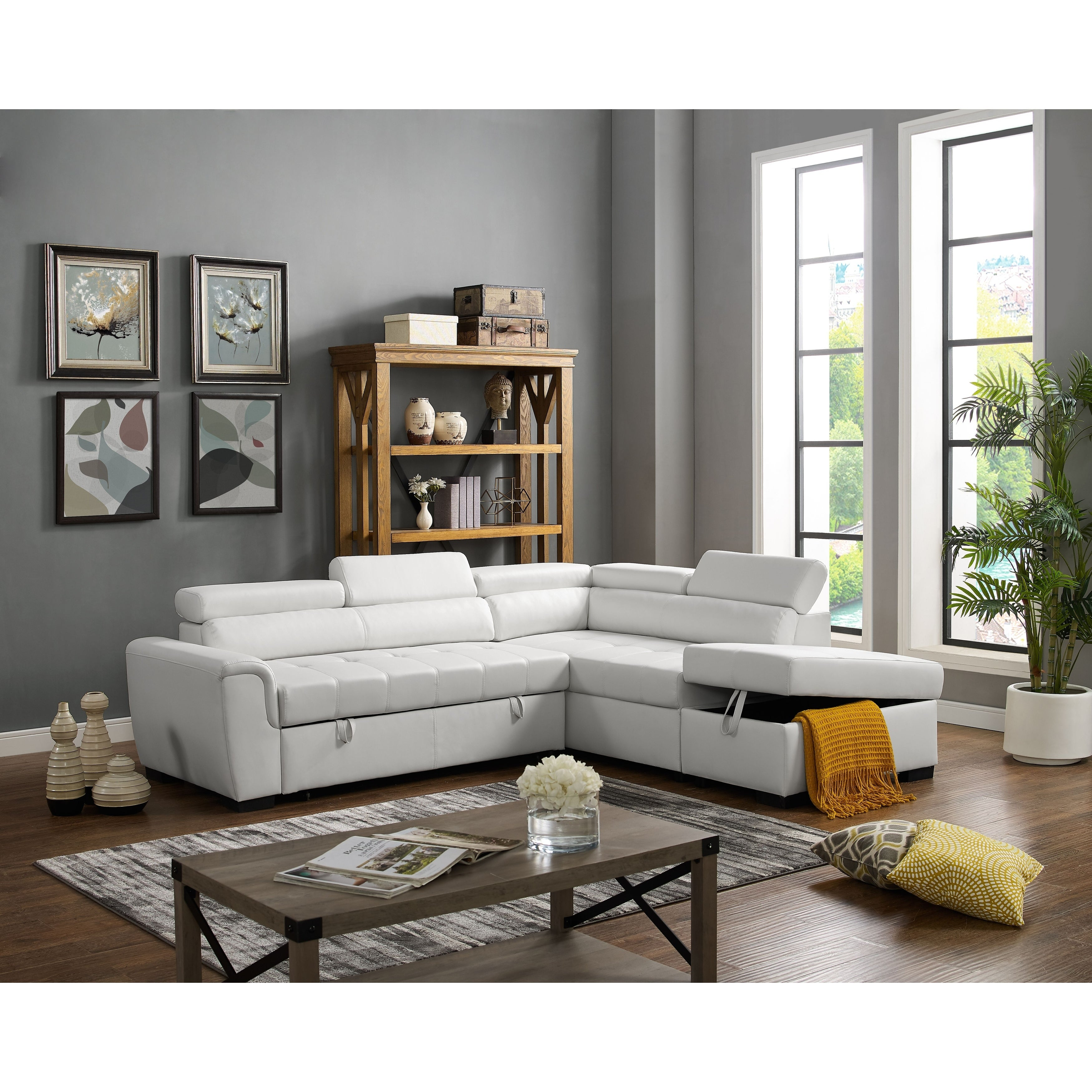 Menomonie Right Hand Facing Sleeper Sectional With Ottoman White