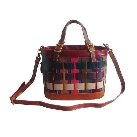 Amerileather Dorgon Leather Rainbow Basket Handbag (1280-9)