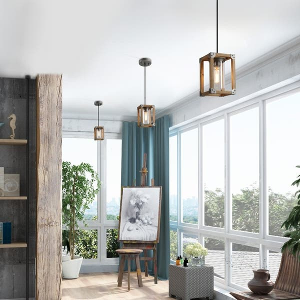 Shop Square Wood Pendant Lighting with Glass Ceiling Light ...