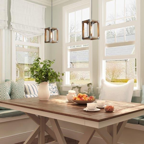 Square Wood Pendant Lighting With Gl Ceiling Light