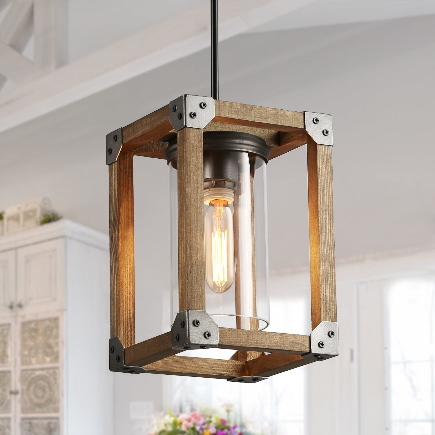 Square Wood Pendant Lighting with Glass Ceiling Light for Kitchen Island -  N/A