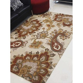 Transitional Paisley Hand Tufted Carpet Indian Oriental Wool Area Rug
