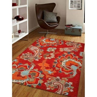 Indian Oriental Hand Tufted Wool Carpet Transitional Paisley Area Rug