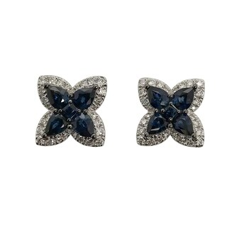 18kt White Gold Diamond Blue Sapphire Stud Earring Women Jewelry