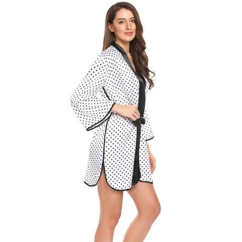 Ekouaer Women Flare Sleeve Dot Lace-up Night Robe Mini Pajamas Sleepwear Satin