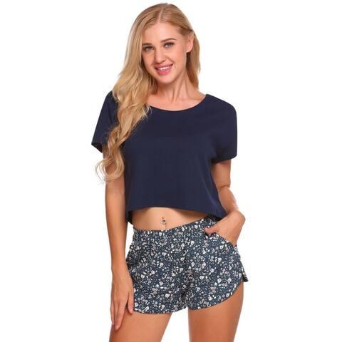 Ekouaer Women Pajamas Set O-Neck Short Sleeve Crop Top and Shorts Lounge Sleepwear