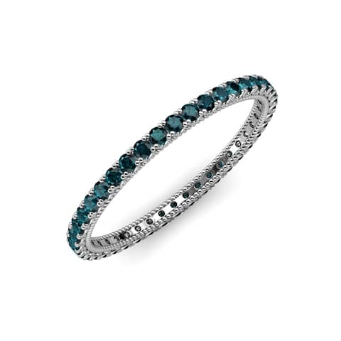 TriJewels London Blue Topaz Eternity Ring Stackable 0.83 ctw 14KW Gold