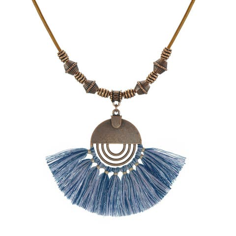 Bohemian Round Copper Half Moon Tassel & Long Leather Necklace
