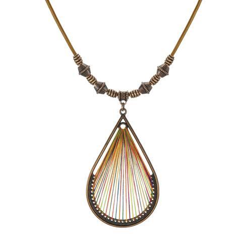 Bohemian Threaded Teardrop Pendant & Long Leather Necklace