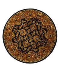 Safavieh Handmade Heritage Traditional Kashan Dark Green/ Gold Wool Rug - 8' x 8' Round