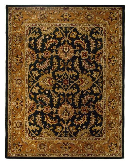 Safavieh Handmade Heritage Traditional Kashan Dark Green/ Gold Wool Rug - 9'6 x 13'6