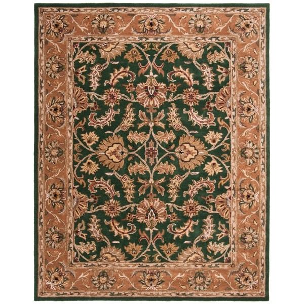 "Safavieh Handmade Heritage Traditional Kashan Dark Green/ Gold Wool Rug - 9'6"" x 13'6"""