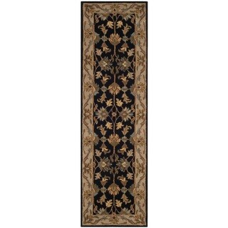 Safavieh Handmade Heritage Traditional Kashan Black/ Beige Wool Runner (2'3 x 8')