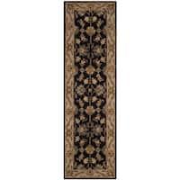 Safavieh Handmade Heritage Traditional Kashan Black/ Beige Wool Runner Rug - 2'3 x 8'