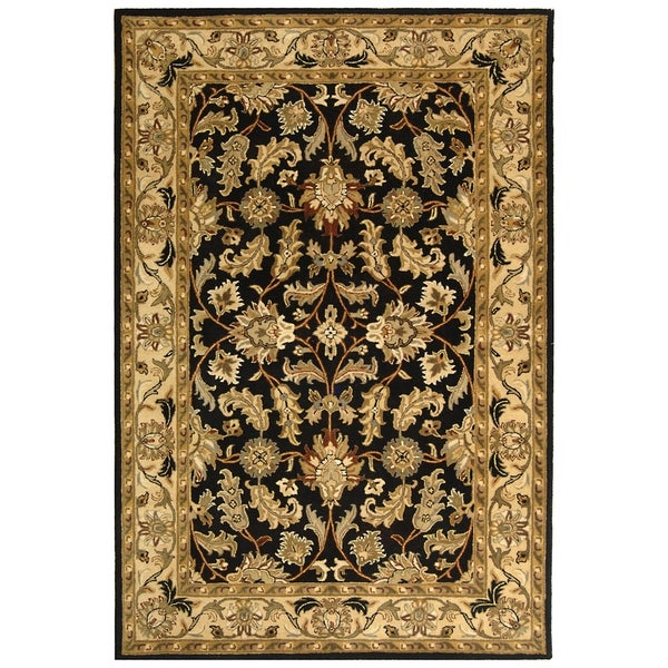 Safavieh Handmade Heritage Traditional Kashan Black/ Beige Wool Rug (8'3 x 11')