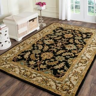 Safavieh Handmade Heritage Traditional Kashan Black/ Beige Wool Rug (9'6 x 13'6)