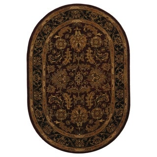 Safavieh Handmade Heritage Traditional Kashan Burgundy/ Black Oval Wool Rug (4'6 x 6'6)