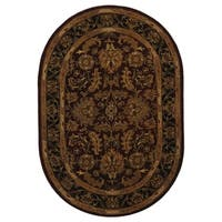 Safavieh Handmade Heritage Traditional Kashan Burgundy/ Black Oval Wool Rug - 5' x 8' Oval