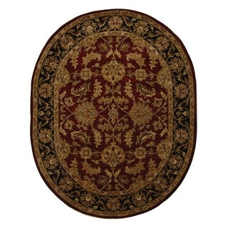 Safavieh Handmade Heritage Traditional Kashan Burgundy/ Black Wool Rug (7'6 x 9'6 Oval)