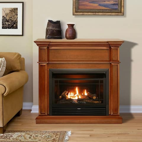 Duluth Forge Dual Fuel Ventless Gas Fireplace with Mantel - 26,000 BTU, Remote Control, Apple Spice Finish - Model# DFS-300R-3AS