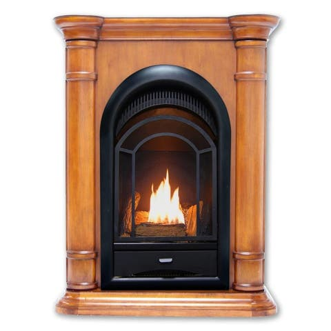 HearthSense Dual Fuel Ventless Gas Fireplace System - 15,000 BTU, T-Stat Control, Apple Spice Finish - Model# HS150T-T-AS