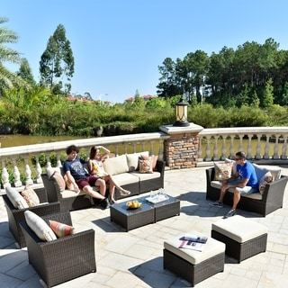 OVIOS 12-Piece Brown wicker patio furntiure sectional with 4 throw pillow and 2 furniture cover