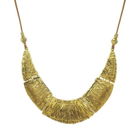 Antique Gold Five Piece Bib & Long Leather Necklace - gold-tan