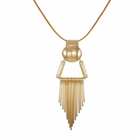 Gold Colored Wire Drop Pendant & Long Leather Necklace - gold-tan