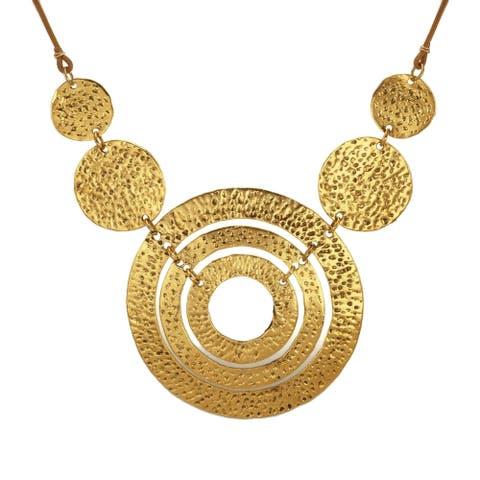 Antique Gold Circles Bib & Long Leather Necklace - gold-tan