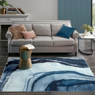 Madison Park Chrome Blue Printed Shiny Area Rug