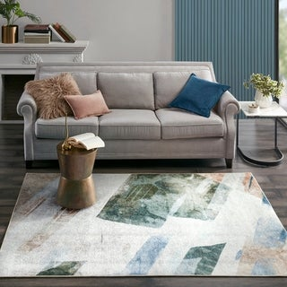 Madison Park Plume Cream/Blue/Beige Printed Matte Area Rug