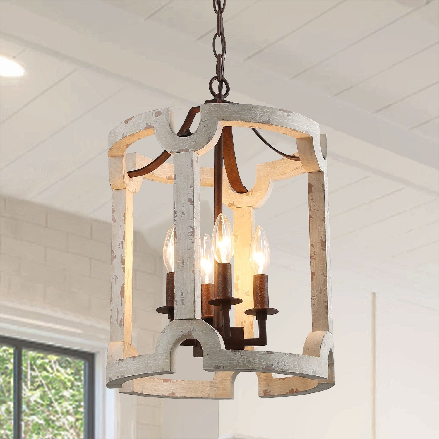 Mini Chandelier With 4 Lights Cylinder Farmhouse Pendant Lighting
