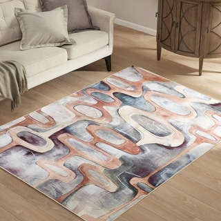 Madison Park Titan Cream/Grey/Beige Printed Matte Area Rug