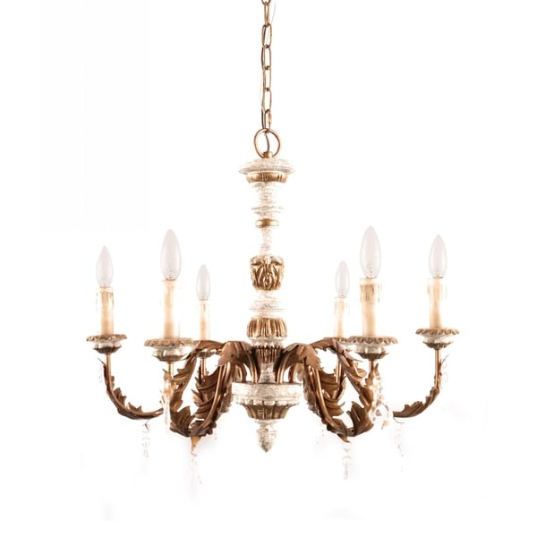 European Royal 6-Light Candle Wooden Chandelier, French Country Brass Iron and Gray Wood Chandelier for Indoor Decoration. Opens flyout.