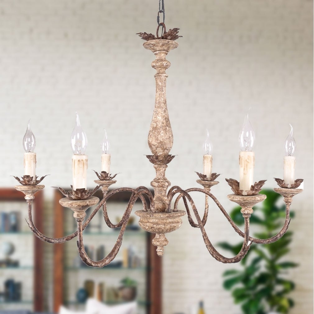 French Traditional Elegant Wood And Iron Chandelier 6 Light Distressed White Bronze Pendant Lighting With Adjule Chain