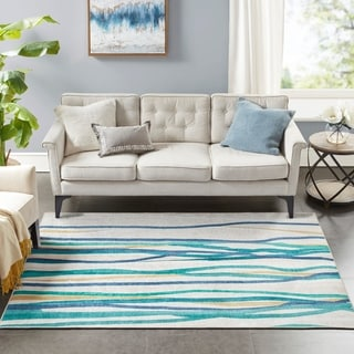Madison Park Metropolitan Blue/Gold Printed Imagine Area Rug