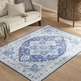 Madison Park Ava Blue Printed Imagine Area Rug