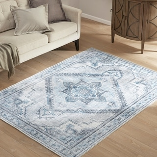 Madison Park Bella Blue/Grey Printed Imagine Area Rug