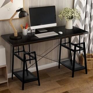 Harper & Bright Designs Adjustable Computer Desk with Storage (Black)