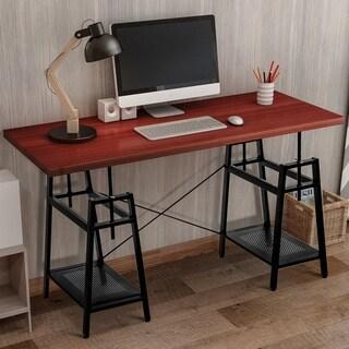 Harper & Bright Designs Adjustable Computer Desk with Storage (Brown)