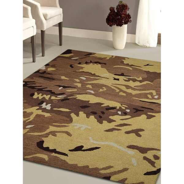 Contemporary Camouflage Hand Tufted Carpet Indian Oriental Area Rug