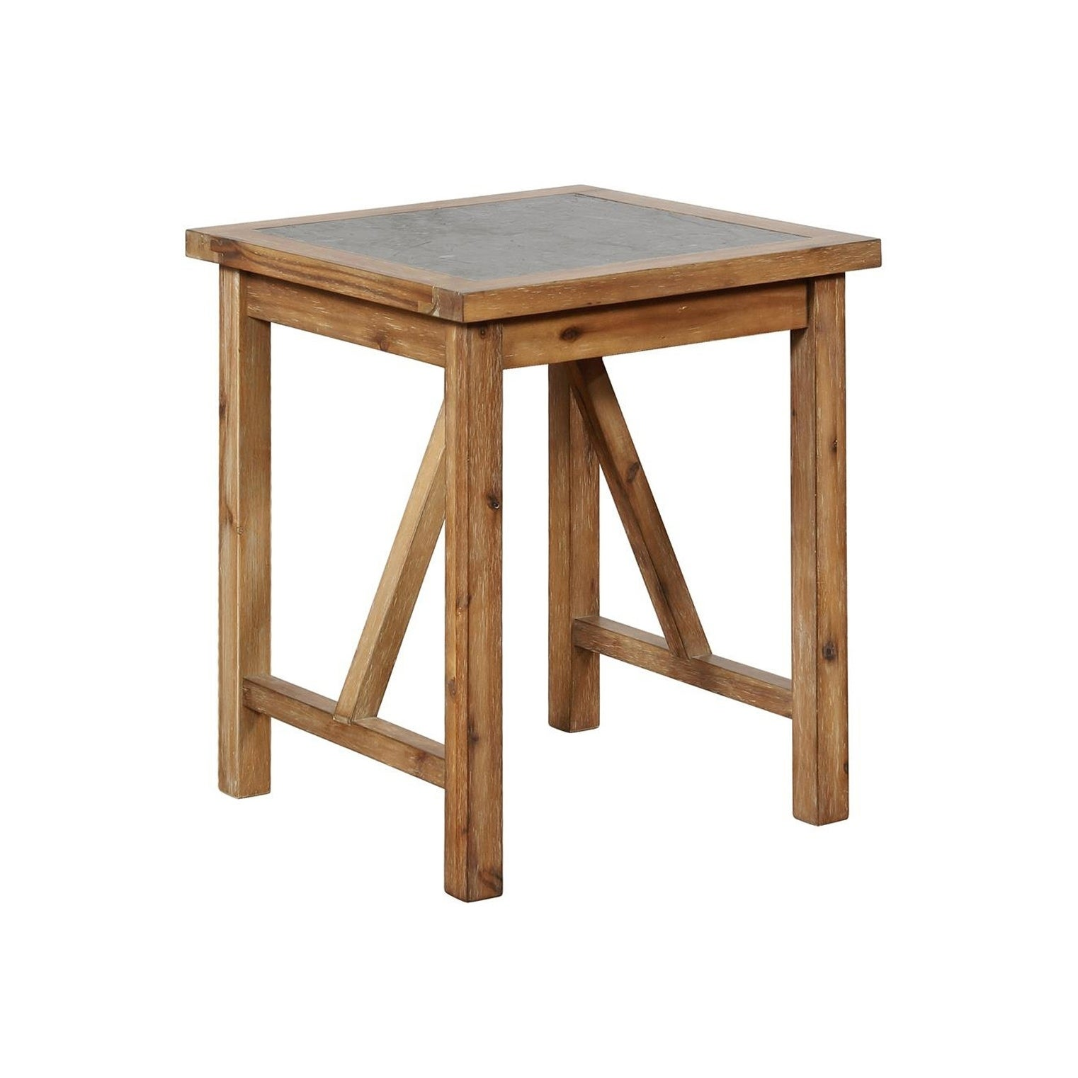 Wood and Metal End Table with Block Legs, Brown and Gray