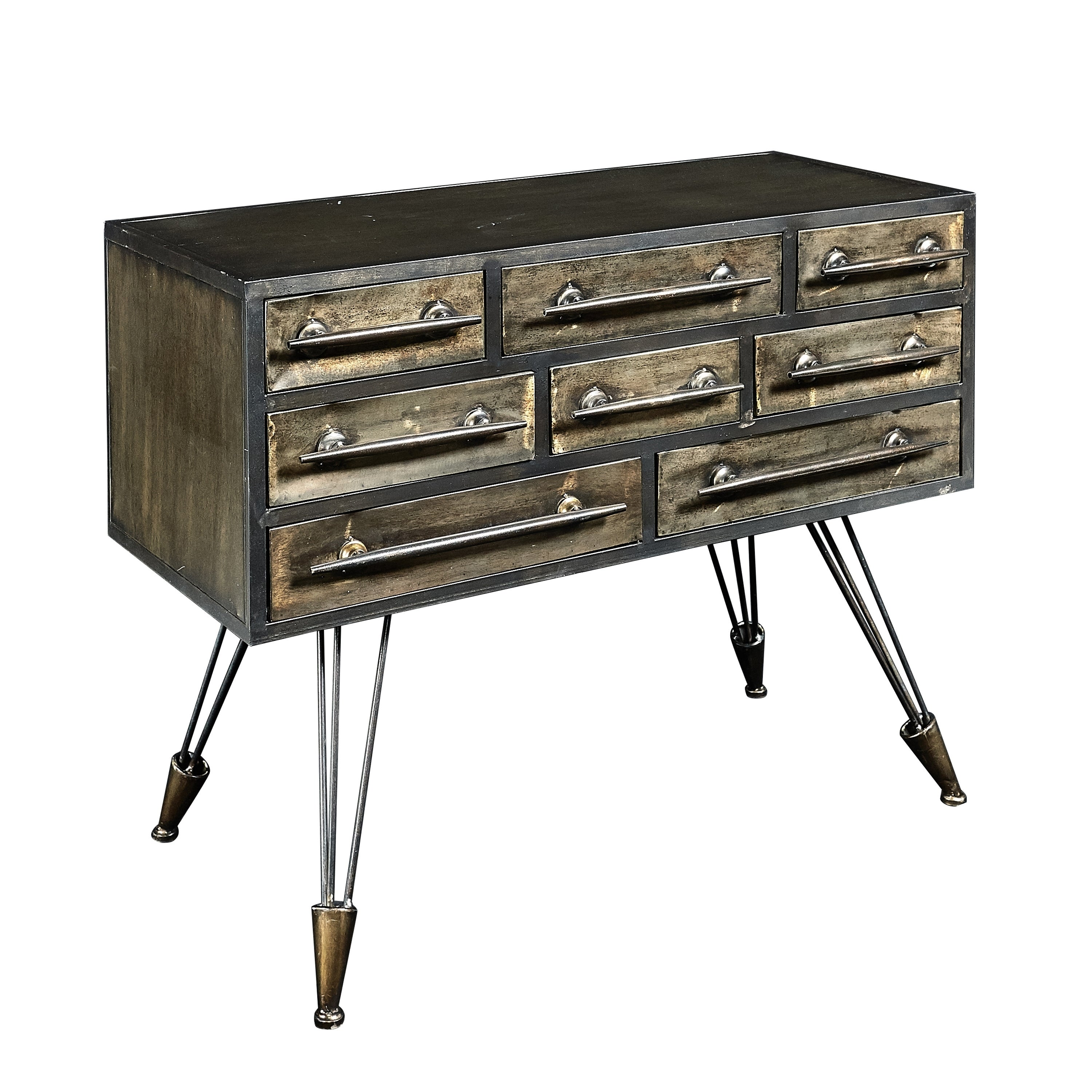 8 Drawers Metal Console Table with Hairpin Legs, Brass and Black