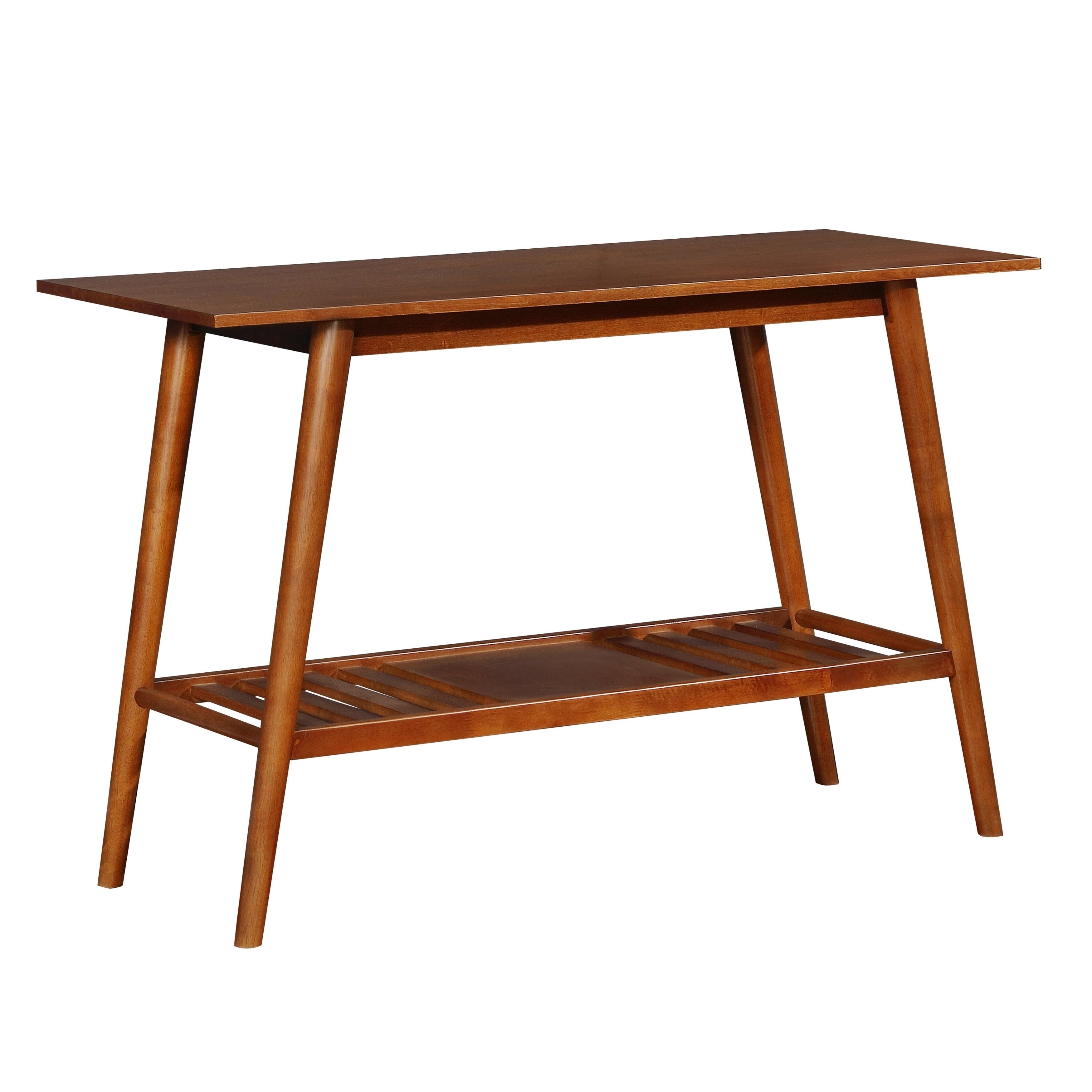 Wooden Console Table with Angled Legs and Open Shelf Storage, Brown