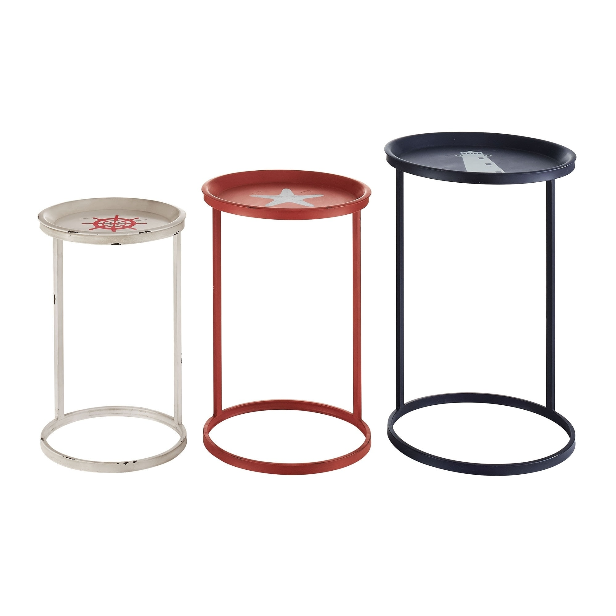 Nautical Themed Nesting Table with Circular Base, Multicolor