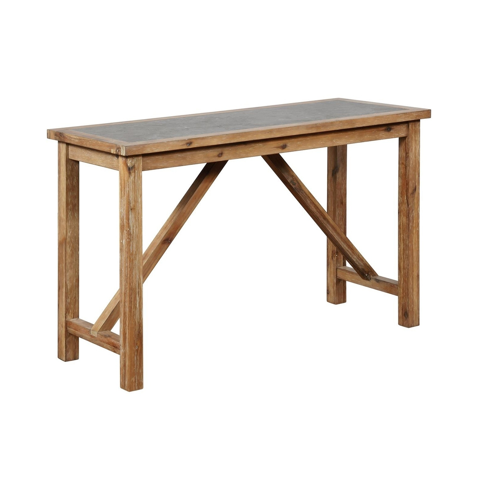 Wood and Metal Console Table with Block Legs, Brown and Gray