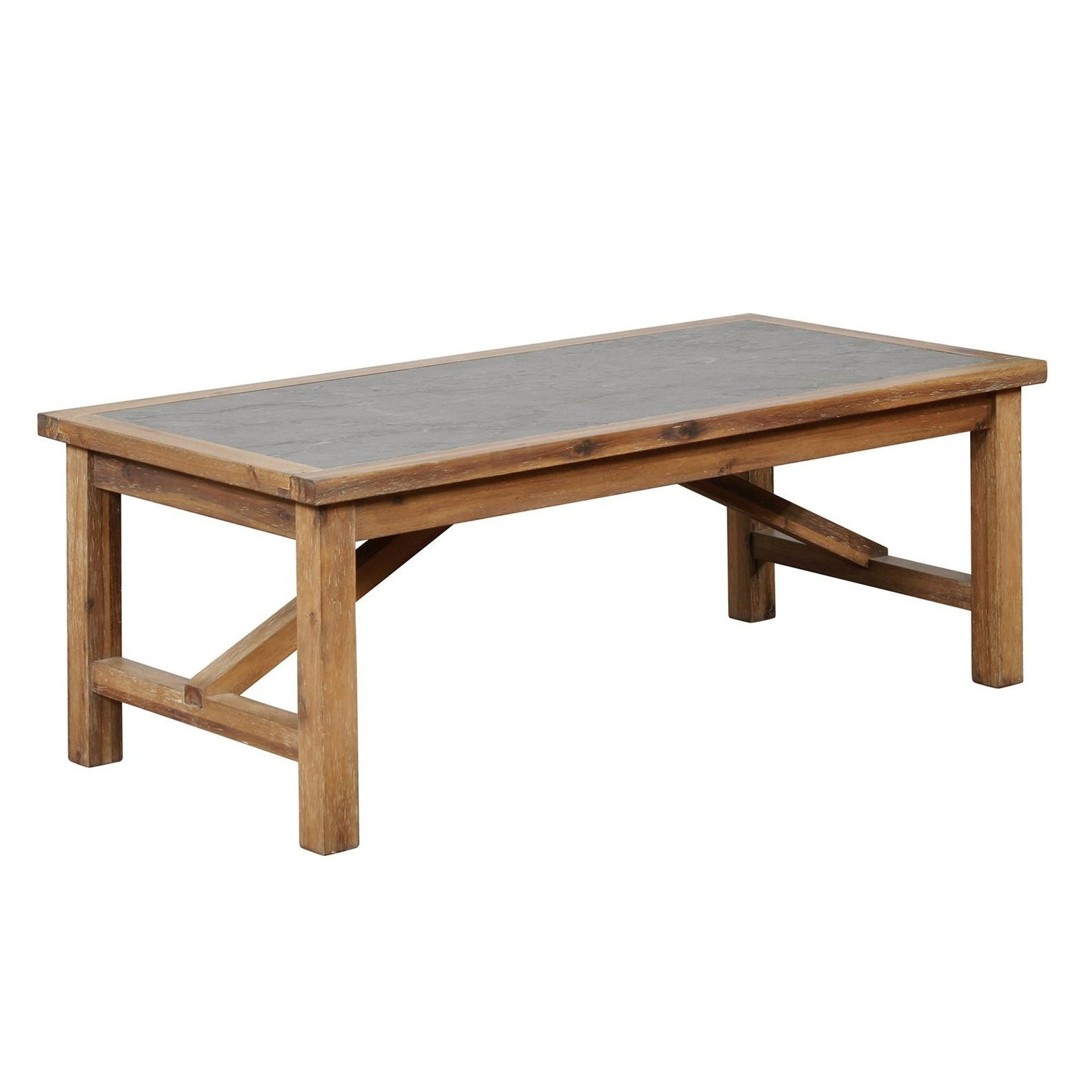 Rectangular Wood and Metal Coffee Table with Block Legs,Brown and Gray