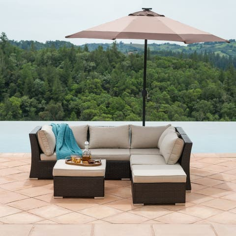 Chaunte 6 Piece Rattan Sectional Seating Group with Cushions by Corvus