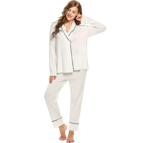 EKOUAER Womens Long Sleeve Solid Stretch Sleepwear Contrast Color Turn Down Collar Nightwear Pajamas Set